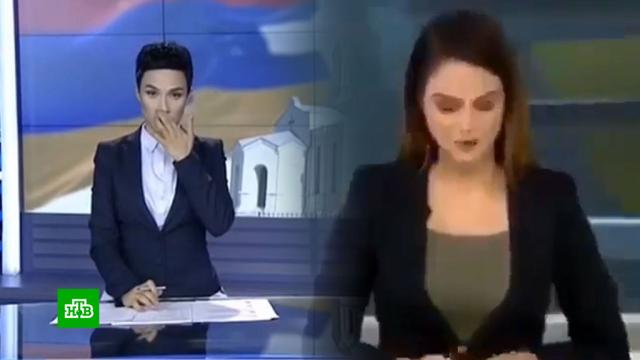 Армянские иазербайджанские телеведущие рыдают, зачитывая информационные сводки.Азербайджан, Армения, войны и вооруженные конфликты, Нагорный Карабах.НТВ.Ru: новости, видео, программы телеканала НТВ