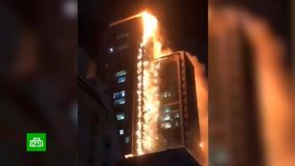 Пылающий жилой небоскреб вКорее сняли на видео