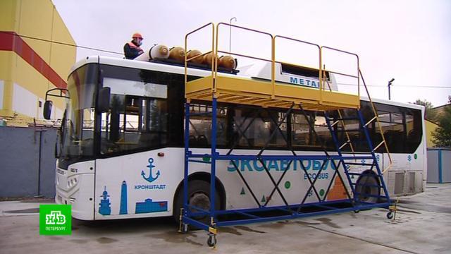 ВПетербурге появилась газовая станция для техосмотра автобусов.Санкт-Петербург, автобусы, газ, общественный транспорт.НТВ.Ru: новости, видео, программы телеканала НТВ