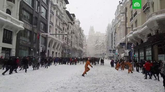 «Снегопад века» вМадриде.Европа, зима, Испания, Мадрид, погода, погодные аномалии, снег.НТВ.Ru: новости, видео, программы телеканала НТВ
