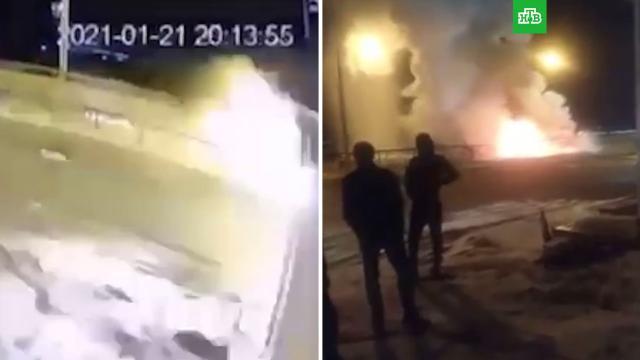 Автомобили вспыхнули после столкновения вЧечне.ДТП, Чечня.НТВ.Ru: новости, видео, программы телеканала НТВ