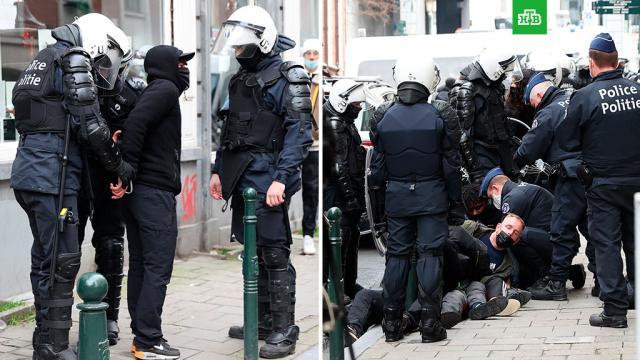 Десятки протестующих задержали вБрюсселе после стычек сполицией.Бельгия, Брюссель, митинги и протесты, погромы.НТВ.Ru: новости, видео, программы телеканала НТВ