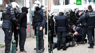Десятки протестующих задержали вБрюсселе после стычек сполицией
