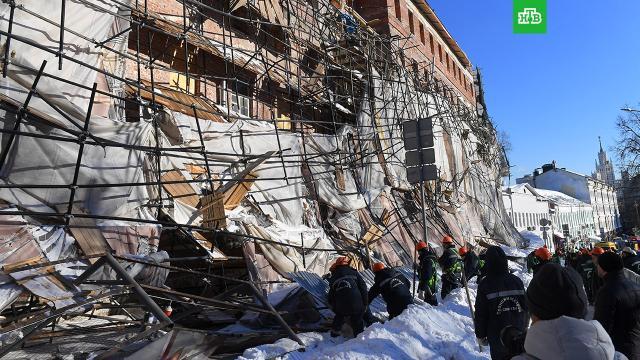 Названа предварительная причина обрушения строительных лесов вМоскве.Москва, обрушение.НТВ.Ru: новости, видео, программы телеканала НТВ
