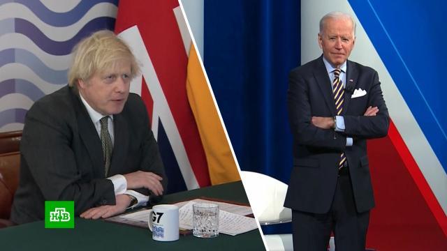 Джонсон пошутил, что Байден «стащил» его лозунг.Байден, G7/G8, Великобритания, прививки, Меркель, США, коронавирус, Джонсон Борис.НТВ.Ru: новости, видео, программы телеканала НТВ