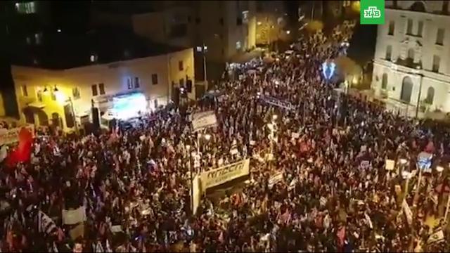 Тысячи демонстрантов вИерусалиме за два дня до выборов требуют смены Нетаньяху.Израиль, выборы, митинги и протесты.НТВ.Ru: новости, видео, программы телеканала НТВ