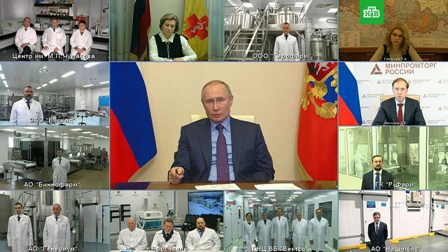 Путин поручил представить кгоснаградам разработчиков вакцин от COVID-19.Путин, вакцинация, коронавирус, прививки.НТВ.Ru: новости, видео, программы телеканала НТВ