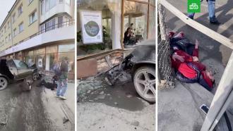 В Новосибирске BMW X5 сбил двух пешеходов и протаранил здание.В центре Новосибирска кроссовер BMW X5 столкнулся с двумя автомобилями, сбил двух пешеходов и врезался в здание.ДТП, Новосибирск.НТВ.Ru: новости, видео, программы телеканала НТВ