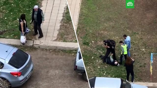 Неадекватный мужчина стопором гонялся за людьми вОренбурге.Оренбург, задержание, нападения.НТВ.Ru: новости, видео, программы телеканала НТВ
