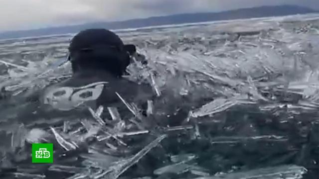 Дайверы-экстремалы искупались во льдах Байкала.Байкал, дайвинг.НТВ.Ru: новости, видео, программы телеканала НТВ
