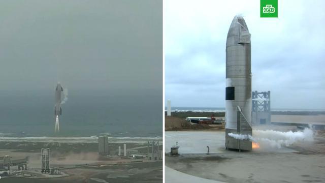 SpaceX провела успешное испытание прототипа корабля Starship.Илон Маск, США, запуски ракет.НТВ.Ru: новости, видео, программы телеканала НТВ