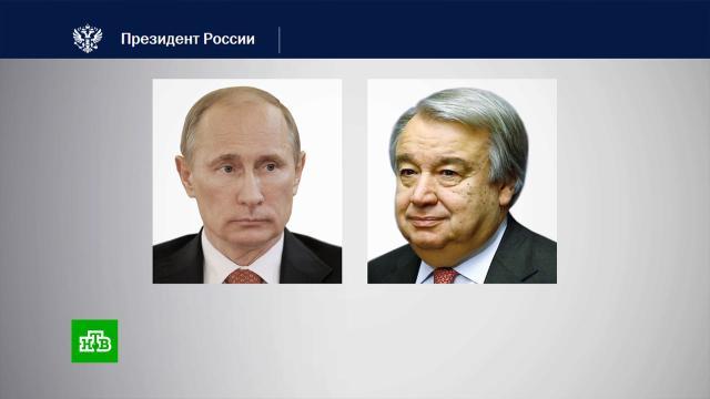 Путин иГутерриш обсудили борьбу сCOVID-19 ипалестино-израильский конфликт.Израиль, ООН, Палестина, Путин, войны и вооруженные конфликты, коронавирус.НТВ.Ru: новости, видео, программы телеканала НТВ