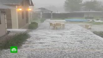 Гигантский град в Адыгее сняли на видео