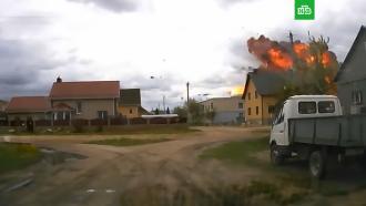 Момент падения самолета в Белоруссии
