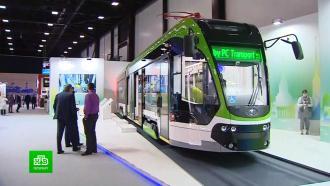 На ПМЭФ представили инновационный трамвай, сделанный в Петербурге
