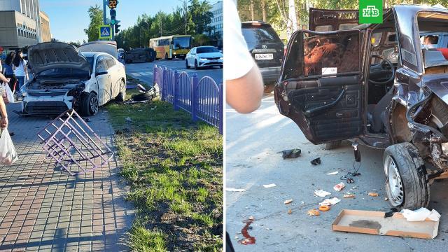В Нефтеюганске вылетевший на встречку лихач на Audi снес четыре легковушки.ДТП, ХМАО/Югра.НТВ.Ru: новости, видео, программы телеканала НТВ
