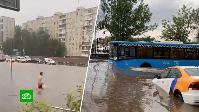 Проще вплавь: суперливень превратил московские улицы вреки.Москва, наводнения, погода.НТВ.Ru: новости, видео, программы телеканала НТВ