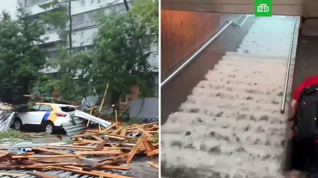 Суперливень вМоскве: затопленные улицы исорванные крыши.Москва, погода, Московская область, пожары.НТВ.Ru: новости, видео, программы телеканала НТВ