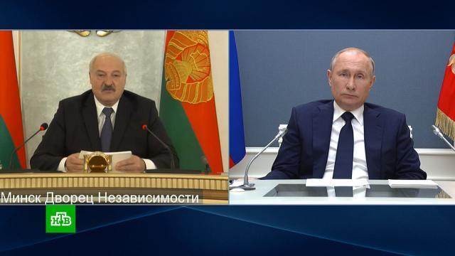 Лукашенко поблагодарил Путина за публичную поддержку Минска вэкономической сфере.Белоруссия, Лукашенко, Путин.НТВ.Ru: новости, видео, программы телеканала НТВ