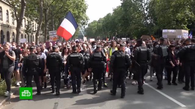 Во Франции не утихают протесты против вакцинации и санитарных пропусков.Франция, коронавирус, митинги и протесты, эпидемия.НТВ.Ru: новости, видео, программы телеканала НТВ