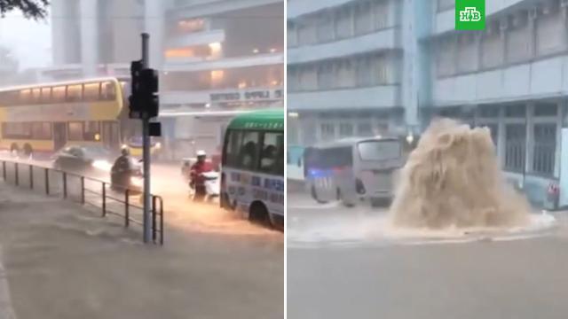 На Гонконг обрушился тропический шторм «Лайонрок».Гонконг, погодные аномалии, штормы и ураганы.НТВ.Ru: новости, видео, программы телеканала НТВ