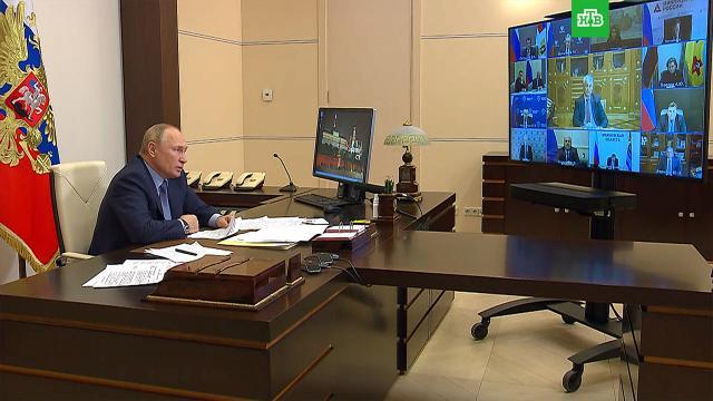 Путин поддержал введение нерабочих дней для борьбы сCOVID-19.Путин, здравоохранение, коронавирус.НТВ.Ru: новости, видео, программы телеканала НТВ