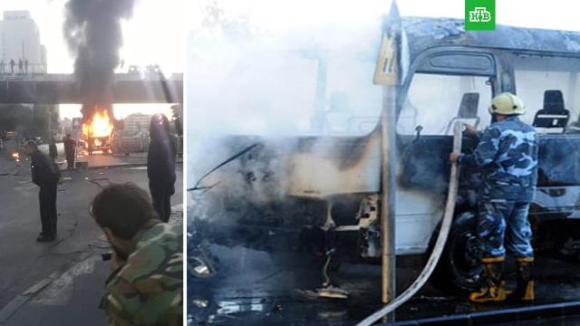 В Дамаске взорвался автобус с сирийскими военными.В центре Дамаска террористы взорвали автобус, принадлежащий сирийской армии. Предварительно, погибли 14 военных, еще двое ранены.Дамаск, Сирия, автобусы, взрывы, терроризм.НТВ.Ru: новости, видео, программы телеканала НТВ