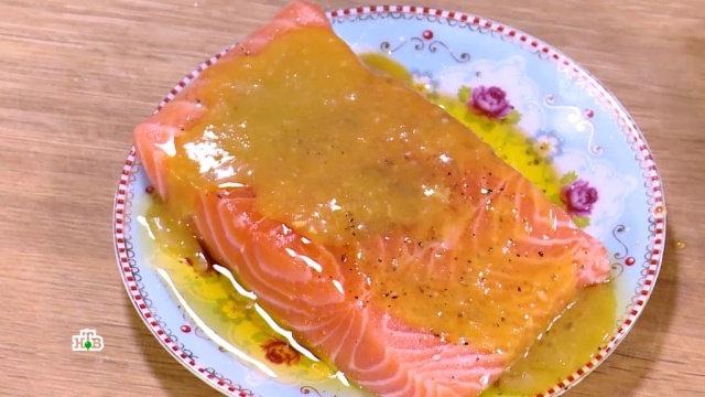Семга вмедово-горчичном соусе.еда, рыба и рыбоводство.НТВ.Ru: новости, видео, программы телеканала НТВ